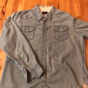 Denim Pearl Snap Shirt, XL